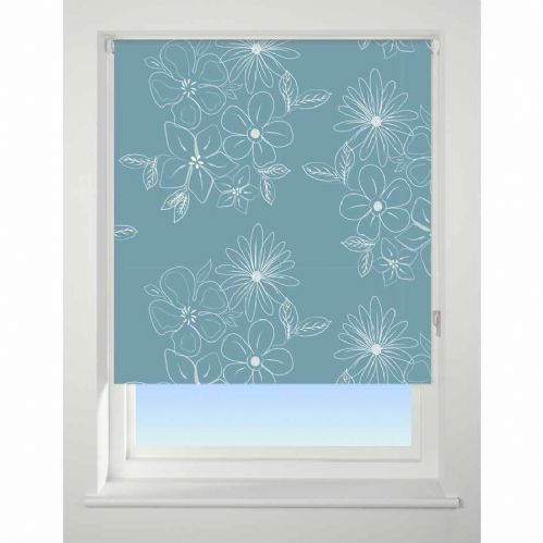 Universal Patterned Blackout Roller Blind - Floral Cluster Teal